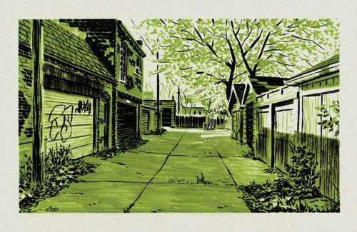 "Part of Michael Cho's ""back alley"" series"